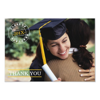 Modern Stamp Photo Graduation Thank You | Gold 9 Cm X 13 Cm Invitation Card