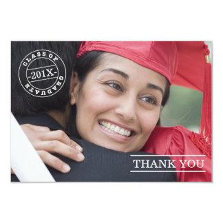 Modern Stamp Photo Graduation Thank You | White 9 Cm X 13 Cm Invitation Card