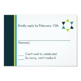 Modern Star Bar Mitzvah Response Card