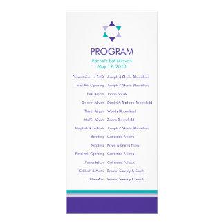 Modern Star Bat Mitzvah Program Rack Card