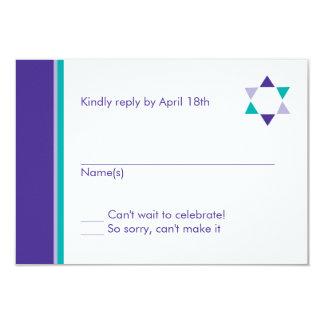 Modern Star Bat Mitzvah Response Card 9 Cm X 13 Cm Invitation Card