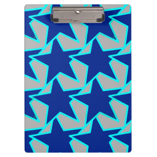 Modern Star Geometric - cobalt blue and  grey Clipboard