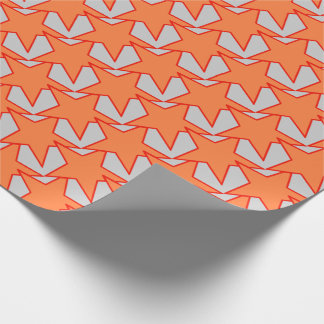 Modern Star Geometric - coral orange and grey Wrapping Paper
