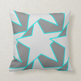 Modern Star Geometric - grey and turquoise Cushion
