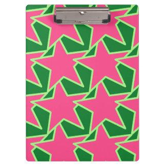 Modern Star Geometric - watermelon pink and green Clipboards
