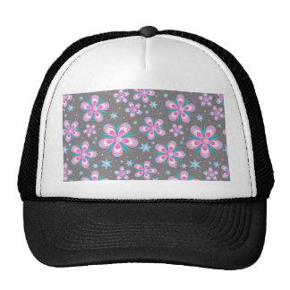 Modern Starburst Floral Print - Pink Gray Cap