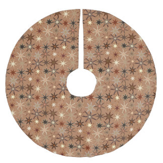Modern Starburst Print, Coffee Brown and Beige Brushed Polyester Tree Skirt