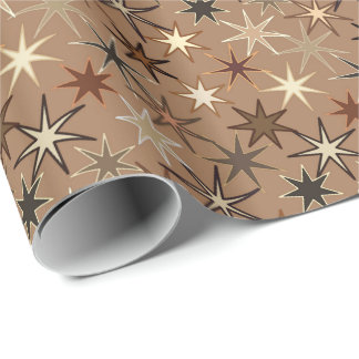 Modern Starburst Print, Coffee Brown and Beige Wrapping Paper