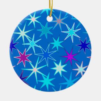 Modern Starburst Print, Deep Cerulean Blue Christmas Ornament