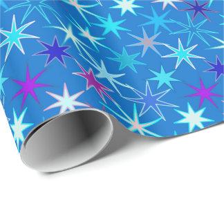 Modern Starburst Print, Deep Cerulean Blue Wrapping Paper
