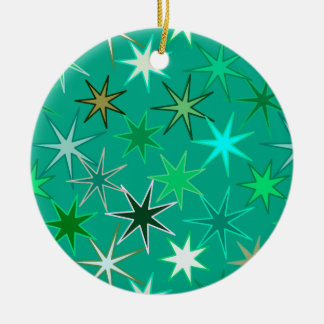 Modern Starburst Print, Turquoise and Aqua Christmas Ornament