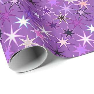 Modern Starburst Print, Violet Purple and Orchid Wrapping Paper