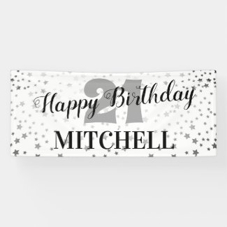 Modern Starry Happy Birthday | Any Age & Name Banner