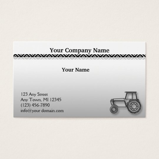 Modern Steel Tractor on Grey Gradient Illustration Business Card