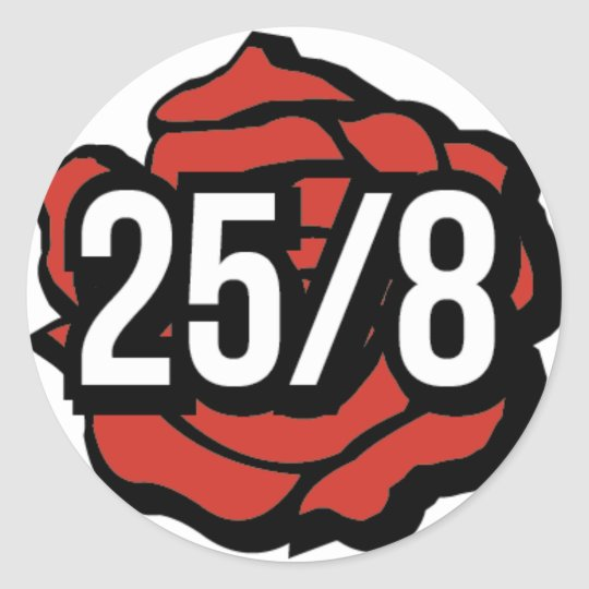 modern sticker with classic 25/8 and rose.