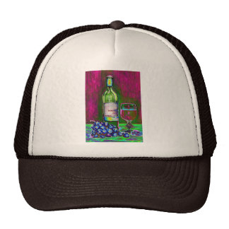 Modern still life art of wine and grapes Cap Trucker Hat