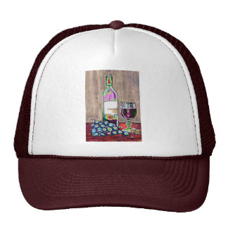 Modern  still life art of wine and grapes Cap