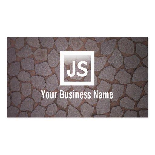 Modern Stone Wall Construction Business Card