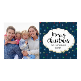 Modern String Lights Christmas Picture Photo Card