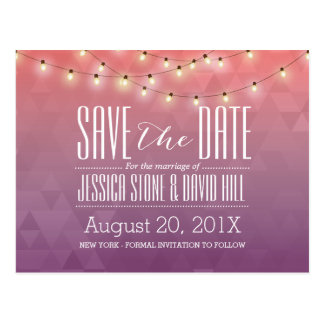 Modern String Lights Elegant Wedding Save the Date Postcard