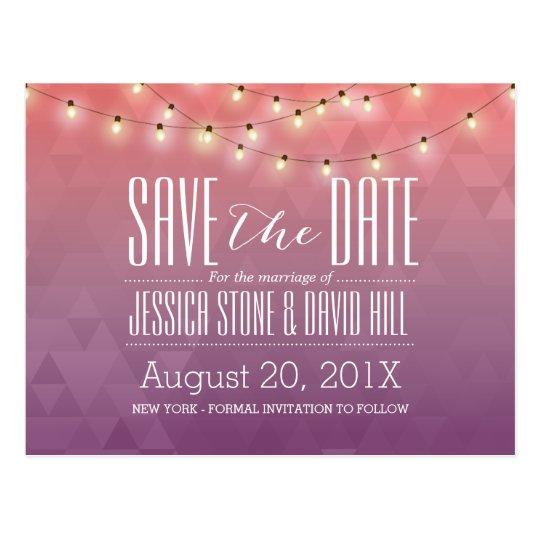 Modern String Lights Elegant Wedding Save the Date
