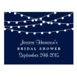 Modern String Lights On Navy Blue Bridal Shower Postcard