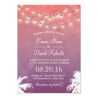 Modern String Lights & Palm Trees Wedding 13 Cm X 18 Cm Invitation Card