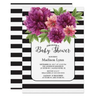 Modern Stripe Autumn Mums Baby Shower Invitation