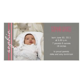 Modern Stripe Birth Announcement Photo Card-coral