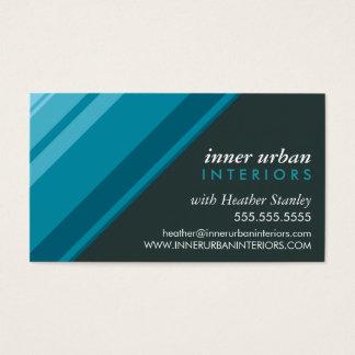MODERN STRIPE bold fresh monochrome aqua grey Business Card
