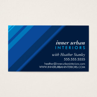 MODERN STRIPE bold fresh monochrome blue navy Business Card