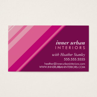 MODERN STRIPE bold fresh monochrome pink plum Business Card