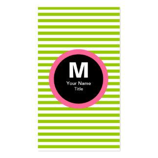 Modern Stripe Monogram Business Card - Green White