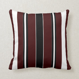Modern Stripe Pillow-Home-Maroon/Black/White Cushion