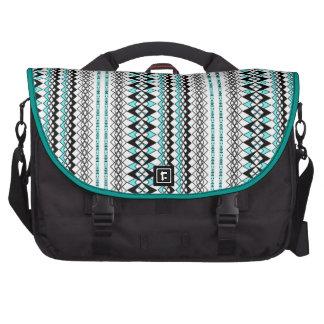 Modern Stripe Tribal Print Teal Black and White Computer Bag