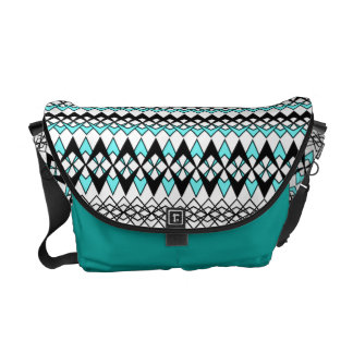 Modern Stripe Tribal Print Teal Black and White Messenger Bags