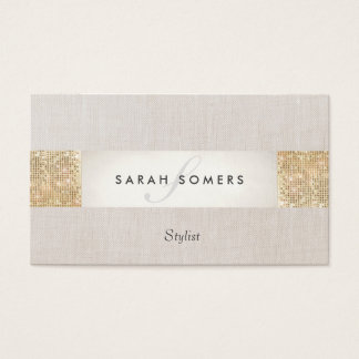 Modern Striped Beige, FAUX Gold Sequin Monogram Business Card
