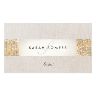 Modern Striped Beige, FAUX Gold Sequin Monogram Pack Of Standard Business Cards