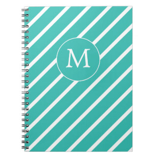 Modern Striped Monogram Aqua Notebook
