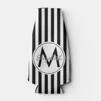 Modern Striped Name and Monogram Bottle Cooler