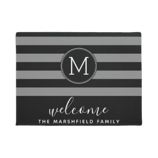 Modern Striped Pattern Family Welcome Black Grey Doormat