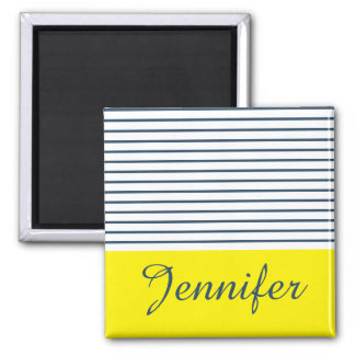 Modern striped pattern square magnet