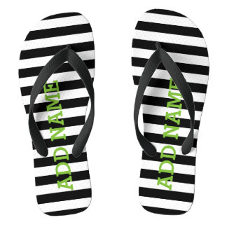 Modern Striped Pattern with Custom Name Monogram Flip Flops