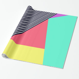 Modern Stripes and Color Block Geometric Pattern Wrapping Paper