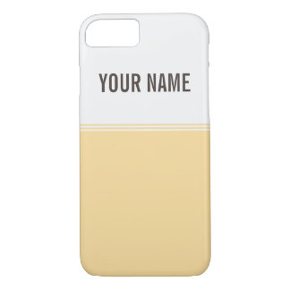 Modern Stripes Blonde Yellow Custom Name iPhone 7 Case