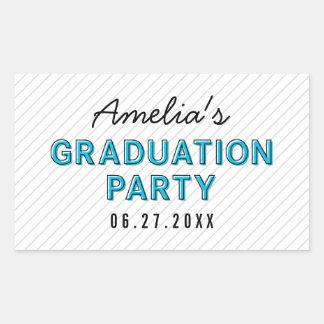 Modern Stripes Blue Graduation Party Rectangular Sticker