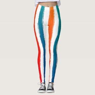 Modern Stripes Brush Strokes Red Blue Orange Teal Leggings