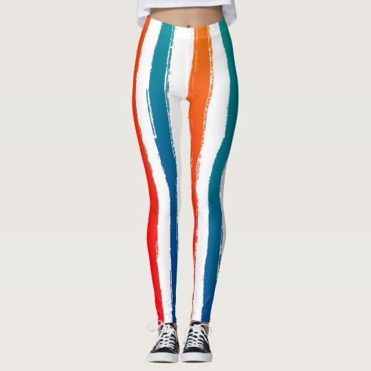 Modern Stripes Brush Strokes Red Blue Orange Teal
