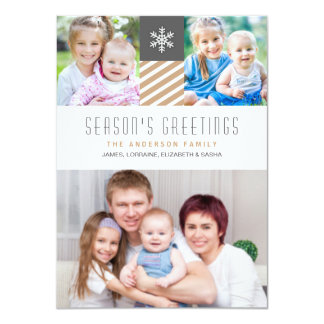 Modern Stripes Christmas Holiday Photo Flat Cards 11 Cm X 16 Cm Invitation Card