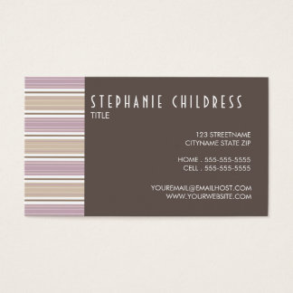 Modern Stripes Contemporary Business Card in Plum